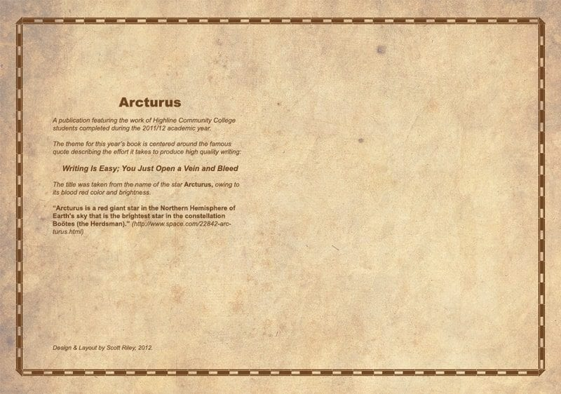 Arcturus - Inside Cover - Front and Back