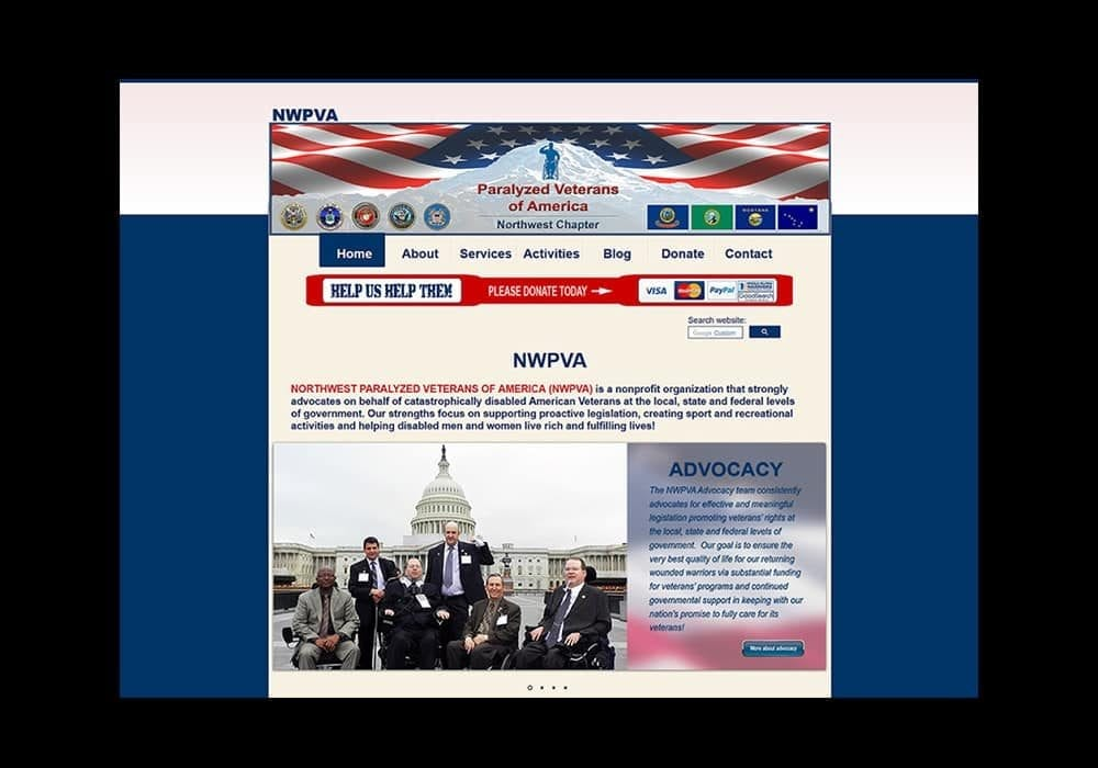 Paralyzed Veterans Nonprofit Organization Website
