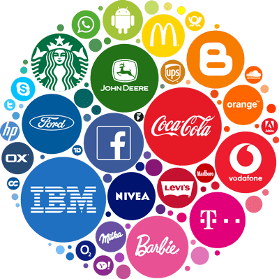Well-known business brand logos and icons